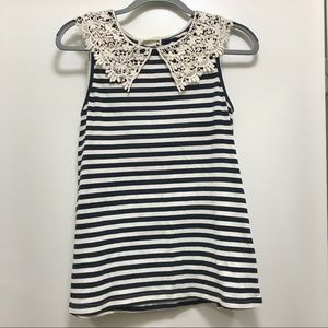 Anthropologie Crocheted Lace Collar Striped Tank